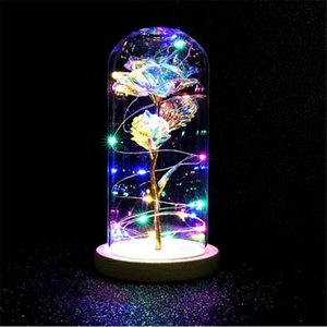 Rose In Flask Night Lamp Luminaria Lampara Red Rose With Led Light In Glass Dome For Wedding Party Mother's Day Gift