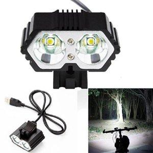 Hot Sale LED Bike Headlight 6000LM 2 X XM-L T6 LED USB Waterproof Lamp Bike Bicycle Headlight Outdoor Camping Spotlights