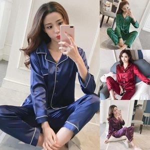 Женские пижамы женщины искусственные шелковые атласные пижамы набор с длинным рукавом V-образным вырезом сплошной цвет две части женская домашняя одежда1