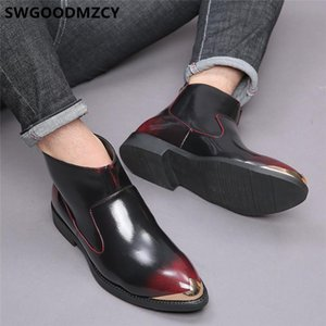 Stiefel italienische leder coiffeur plus größe schuhe herren kleid ankle mode designer buty