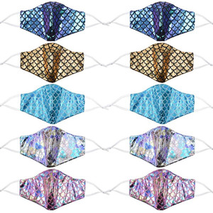 Colorful mermaid face mask with filter pocket sequin rainbow anti dust face covers laser washable  masks FWA2226