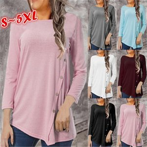 Ladies Irregular Hems Bottoming T-shirts Fashion Trend Solid Color Long Sleeve Round Neck Tops Designer Female Autumn Loose Casual Tshirts