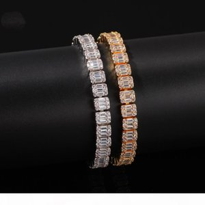 18K Gold Silver Black Gold CZ Iced Out Zircon Tennis Bracelet For Hip Hop Women Men Single Row Rhinestone Jewelry Gifts