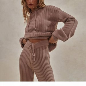 Jodimitty Women Knitted Lounge Wear Sets 2pcs Long Sleeves Suit Ladies Tracksuit Set Autumn Casual Streetwear Hooded Clubwear T200930