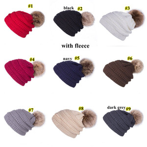 Winter Women Knitted Thick Beanies Letter Pom Pom fur ball Hat Warm Wool unisex Crochet Skull Beanie Female ski fleeced Caps OWE2102