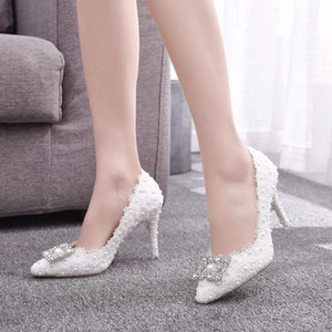 9 Cm Large Size Lace Pearl Single Shoe Square Buckle Rhinestone High Heels Wedding Dinner Womens Shoes Sexy Party Dress Pumps 41