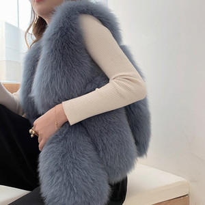Women Winter Real Fur Coats For Women Natural Whole Skin Genuine Blue Fur Vest Female High Quality Warm Gilets Outfit