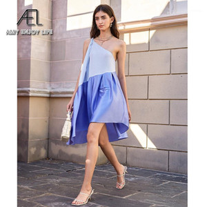 Ael Sommer Blue One Schulter Slip Kleid Sexy Partykleid Frauen Lose Casual Dresses Neue Ankunft1