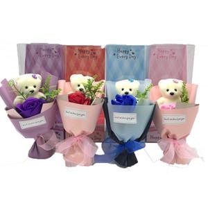 Único oso Cachorro de jabón flor Rose Rojo Flores de rosa con regalos Caja Maestros Día San Valentín Regalo DIALIZACIÓN MULICOLOR 5QQ J2