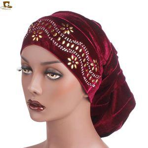Berretto / cranio Cappucci Diamante Velvet Turban pieghettato Turban Dreadlocks Sleeping Cap Baggy Cappello per perdita di capelli Musulmani Accessori Slouch Accessori