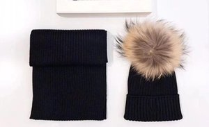 A001 2pcs Set 2-12Y Winter Baby Kids Solid Caps Scarf Warm Wool Knitted Cute Fox fur ball Hat+Scarf Children Neck Warmer Cap one size