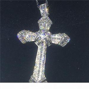 Luxury Big Cross pendant With necklace 925 Sterling silver 5A zircon Cz Party wedding Pendants for women men Jewelry