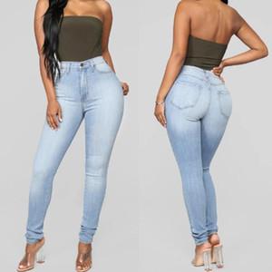 Mode femme Jeans Button taille haute Casual Skinny Slim Jeans boyfriend pour les femmes Pantalons Crayon Pantalons Mujer S10
