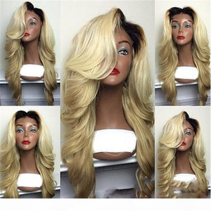 Synthetic Wig Kylie Jenner Sexy 613 Blonde Ombre Wig With Dark Root Hair Glueless Synthetic Lace Front Wigs Heat Resistant Fiber
