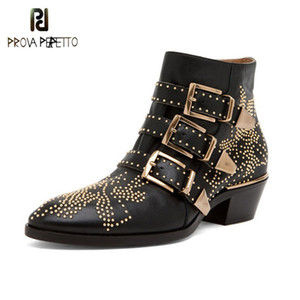 Prova Perfetto Luxury Rivet Flower Short Boots Women Round Toe Susanna Studded Genuine Leather Ankle Boots zapatos de mujer 201020