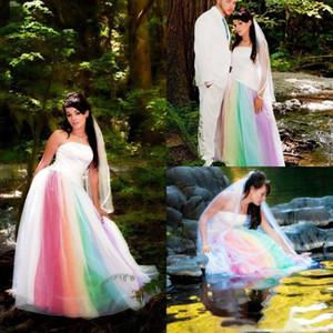 Gothic Vestidos de noiva Colorful Rainbow Garden Wedding Dresses Long 2021 Vintage Strapless Plus Size Bridal Gowns Back Lace Up mariage