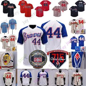 Hank Aaron Jersey 1797 1963 1957 Vintage Cooper 715 HR Hall of Fame Yama Pullover Of Krem Beyaz Mavi Deniz Kuvvetleri kasaba