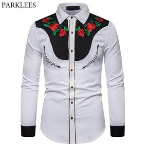 Erkek Casual Gömlek Çiçek Nakış Erkekler Vintage Batı Kovboy Gömlek Gül Çiçek Uzun Kollu Beyaz Tasarım Elbise