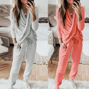 Two Piece Set Women Tracksuit Solid Color Tops Pants 2pcs Sports Sets Leisure Wear Lounge Wear Suit Set Clothes For Women1