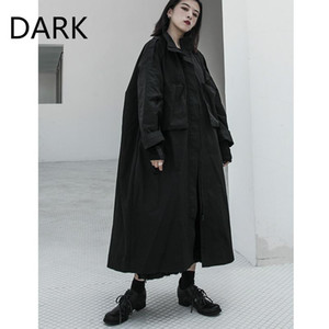 Kadın Aşağı Parkas [Karanlık] Artı Kadife Koyu Siyah Dağ Rüzgar Rüzgar Kırıcı Yastıklı Ceket Uzun Diz Üzerinde Büyük Sürüm Yohji Ceket
