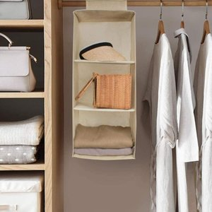 Hanging Closet Organizers 3 Shelf 4 Shelf 5 Hanging Collapsible Storage for Clothes, Towel and Socks Beige Grey
