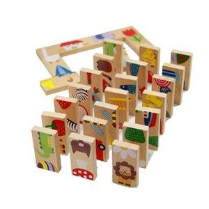 28 قطعة / المجموعة مونتيسوري الطفل أطفال الحيوانات دومينو بناء الكرتون كتل خشبية لعبة الاستخبارات لعبة للأطفال الرياضيات اللعب