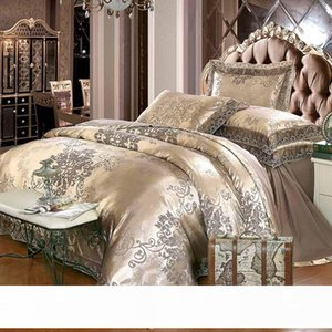 Jacquard Bedding Set King Queen Size 4pcs Bed Linen Silk Cotton Duvet Cover Lace Satin Bed Sheet Set Pillowcases
