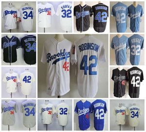 Hombre 1955 Brooklyn # 32 Sandy Koufax Jersey # 42 Jackie Robinson Jersey # 34 Fernando Valenzuela Jersey S-3XL cosido blanco Crema real