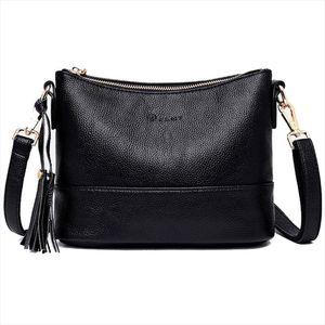 Women Minimalist Shoulder Bags High Quality PU Leather Solid Color Messenger Bag With Tassel Decoration Double Shoulder Strap