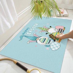 Easter Floor Door Mat Happy Easter Gnomes Rabbit Eggs Doormats Non Slip Kitchen Carpet Bathroom Door Rug 18x30in