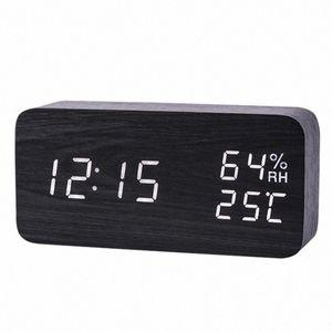 LED Wooden Alarm Clock Watch Table Voice Control Digital Wood Despertador Electronic Desktop USB AAA Powered Clocks Table Decor #Ut9A