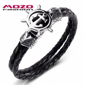 MOZO FASHION 2020 Männer Schmuck-Schwarz-echtes Leder-Armband-Edelstahl-Punk Anchor Rudder Charm Einfache Frauen Armband 540 xPFs #