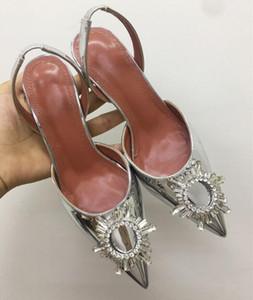 2021 Perfect Official Quality Amina Begum Crystal-embellished Satin Slingback Pumps Muaddi Crystal Elasticated Slingback Strap Shoes