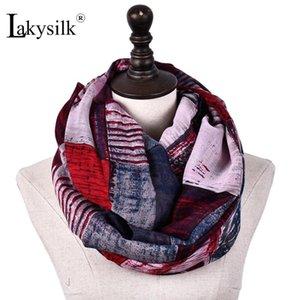 [Lakysilk] Plaid Бесконечность Snood Женщины Длинные шарфы Кольцо для Спринг Теплый моды шеи Платки женские аксессуары