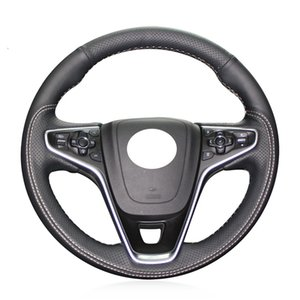 DIY Hand-stitched Original Leather Car Steering Wheel Cover For Opel Insignia 2014-2017 Vauxhall Insignia 2015 BLACK 15inch 38cm
