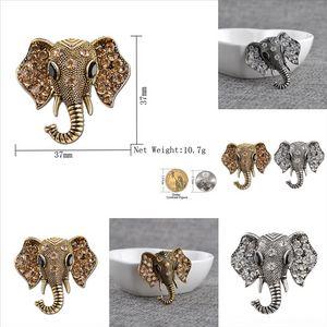 YLTBB Fashion Brooch Jewelry Elephant Animal diamond creativity elephant brooch Rhinestone Hollow Retro Head Animal