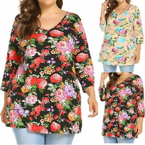 Top New Women Abbigliamento Plus Size Autunno Donne Tshirt Casual V Collo floreale Tees Moda Pullover