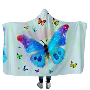 Plush Home Office Hooded Blanket Adult Child Washable Warm Sofa Cloaks Cap Butterfly Planet Printed Polyester Throw Blankets VTKY2081