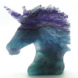 """Estatua de la cabeza de Unicornio Piedra preciosa natural Fluorita tallada Reiki Healing Home Ornament 5.1 """"T200709"""