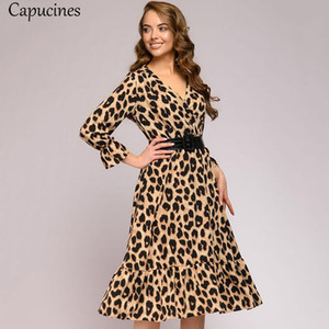Capucines Sexy V neck Leopard Print Woman Dress Autumn Flare Sleeve Ruffle Hem Elegant Vintage Party Dresses For Women(No Blet)