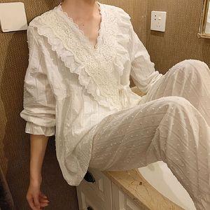 Spring Autumn Cotton V-neck Cardigan Women's Pajamas Sets Sweet Female Long Sleeve Kimono Pyjamas Loose Sleepwear Suits 201113
