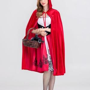 새로운 작은 빨간 승마 후드 의상 할로윈 코스프레 유니폼 성인 역할 - 재생 드레스 망토 무대 공연 정장 천 LJ201128