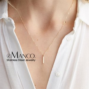 e-Manco Stylish Stainless Steel Pendant Necklace Thin Link Chain Necklace Best Friend Necklace Minimalist choker Jewelry Y200323