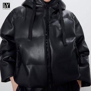 LY VAREY LIN 가짜 가죽 후드 코튼 재킷 새로운 겨울 여성 지퍼 리본 포켓 두꺼운 방풍 여성 자켓 201,015을 따뜻하게