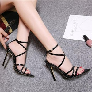 Woman Super High 11.5CM Thin Heels Women Pumps Ankle Cross Strap Sandals Shoes Ladies Pointed Toe High Heels Dress Party Shoes