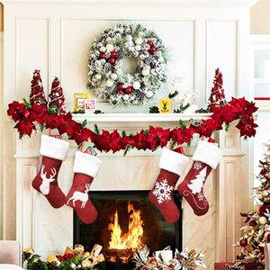 2020 new fashion Christmas socks small gift bag elk embroidery Santa Claus gifts Christmas stocking tube pendant Christmas Eve decorations