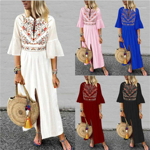 Mid Sleeved Stitching A Line Dress Famale Clothing Womens Ethnic Style Printed Dress Summer Casual Loose