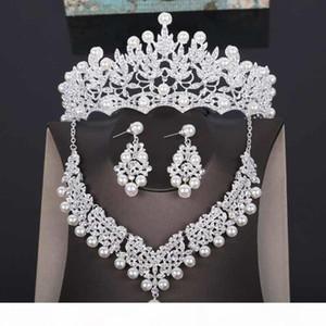 High Quality Wedding Crown Bridal Head Piece Pearl Tiara Jewelry Women Hair Accessories Set Silver Headpiece Big Pageant Crown J190701