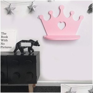 Pink Wooden Crown Wall Shelf For Princess Room Daughter Girls Room Decoration Best Gift Nursery D jllrLR insyard