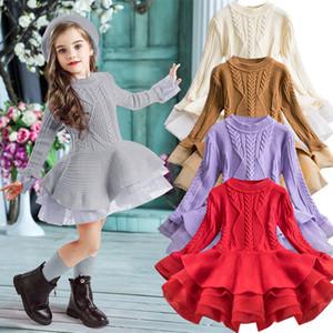 2020 inverno lavorato a maglia chiffon maglione Girl Dress Christmas Party a manica lunga per bambini abbigliamento per bambini abiti per le ragazze di Capodanno Abbigliamento